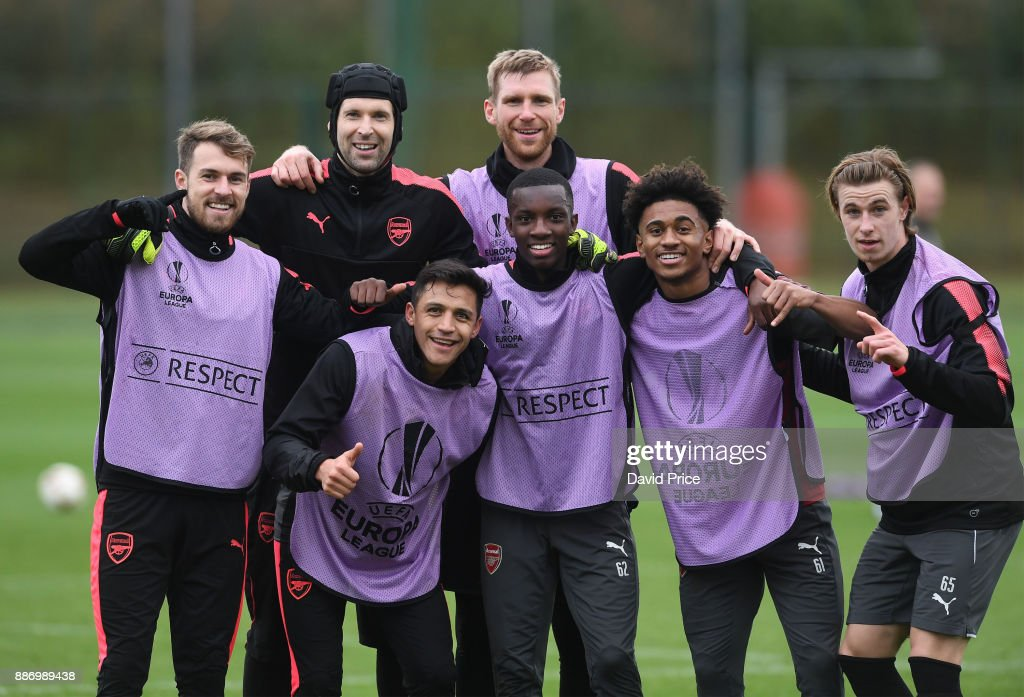 Aaron Ramsey, Petr Cech, Alexis Sanchez, Per Mertesacker, Eddie Nketiah, Reiss Nelson and Ben Sheaf of Arsenal during the Arsenal training session, on the eve of the UEFA Europa League group H match against BATE Borisov, at London Colney on December 6, 2017 in St Albans, England.