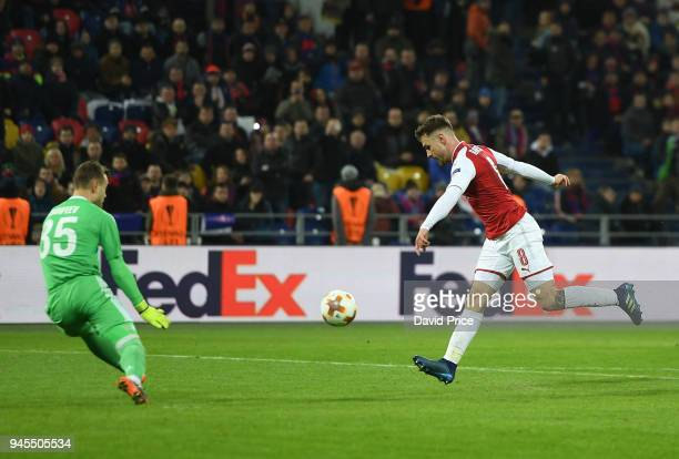 Aaron Ramsey scores Arsenal's 2nd goal during the UEFA Europa League quarter final leg two match between CSKA Moskva and Arsenal FC at on April 12...