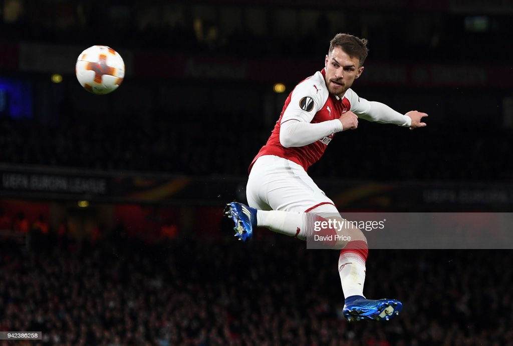 Aaron Ramsey scores Arsenal's 3rd goal, his 2nd, during the UEFA Europa League quarter final leg one match between Arsenal FC and CSKA Moskva at Emirates Stadium on April 5, 2018 in London, United Kingdom.