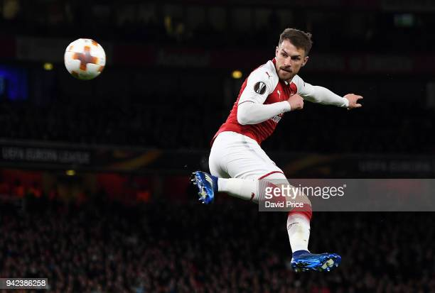 Aaron Ramsey scores Arsenal's 3rd goal his 2nd during the UEFA Europa League quarter final leg one match between Arsenal FC and CSKA Moskva at...