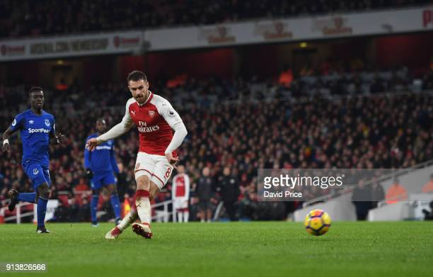Aaron Ramsey scores his 3rd goal Arsenal's 5th during the match the Premier League match between Arsenal and Everton at Emirates Stadium on February...