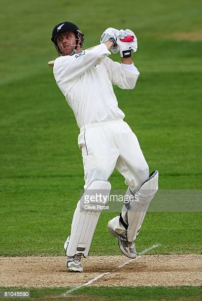 Aaron Redmond of New Zealand hts out during third day of the match between the England Lions and New Zealand at The Rose Bowl on May 10 2008 in...