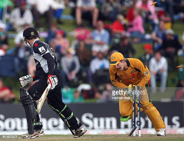 Aaron Redmond of New Zealand is stumped by Tim Paine of Australia from the bowling of Nathan Hauritz of Australia during the ICC Champions Trophy...