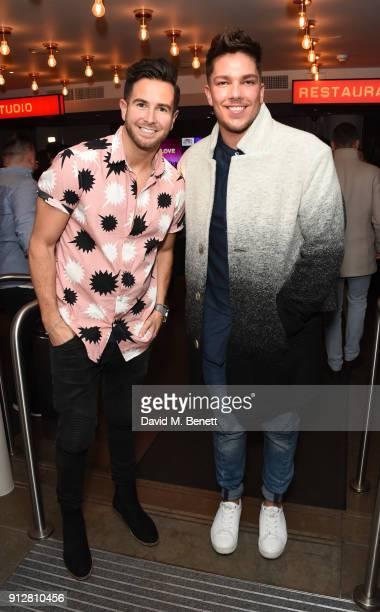 Aaron Renfree and Matt Terry attend the press night performance of 'Eugenius' at The Other Palace on January 31 2018 in London England