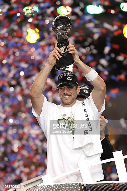 Aaron Rodgers and Clay Matthews of the Green Bay Packers of the Green Bay Packers holds the Lombardi Trophy after defeating the Pittsburgh Steelers...