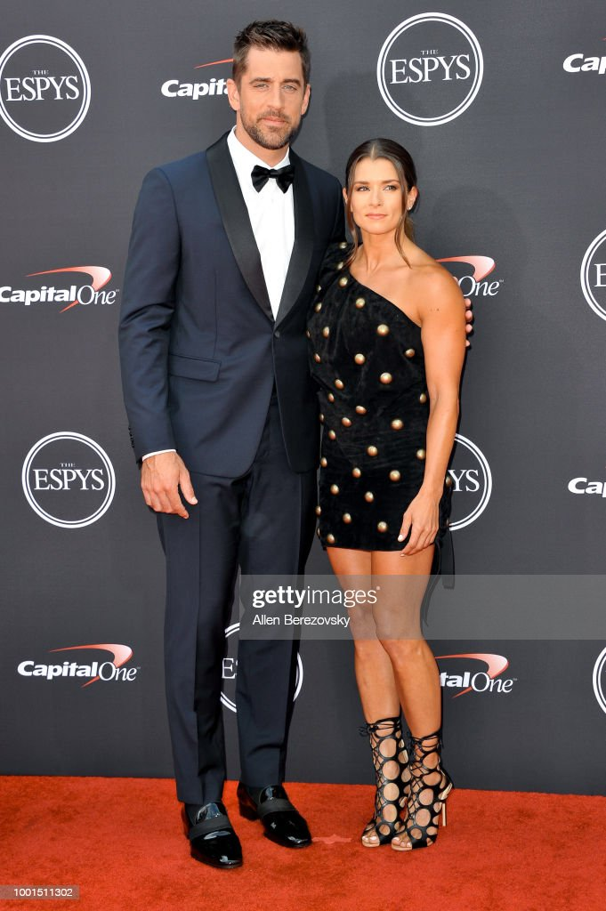 Aaron Rodgers and Danica Patrick attend The 2018 ESPYS at Microsoft Theater on July 18, 2018 in Los Angeles, California.
