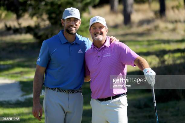 Aaron Rodgers and Jerry Kelly pose for a photo during Round Two of the ATT Pebble Beach ProAm at Monterey Peninsula Country Club on February 9 2018...