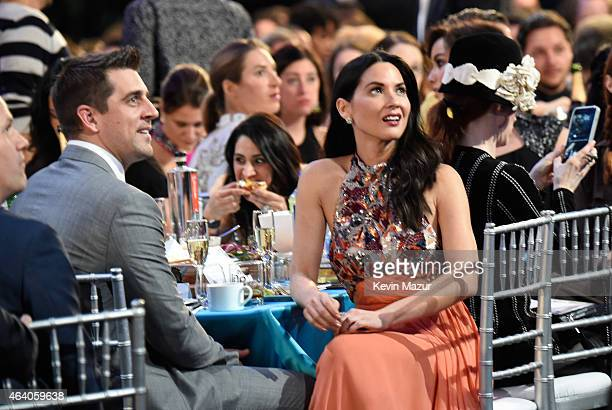 Aaron Rodgers and Olivia Munn attend the 2015 Film Independent Spirit Awards at Santa Monica Beach on February 21 2015 in Santa Monica California