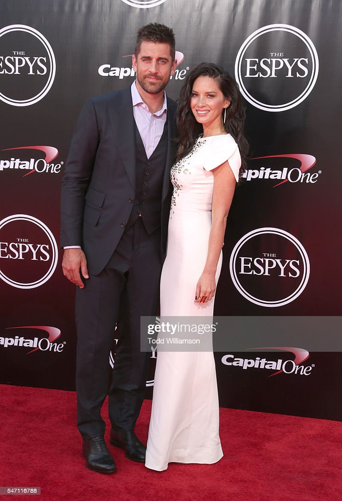 Aaron Rodgers and Olivia Munn attend The 2016 ESPYS at Microsoft Theater on July 13, 2016 in Los Angeles, California.