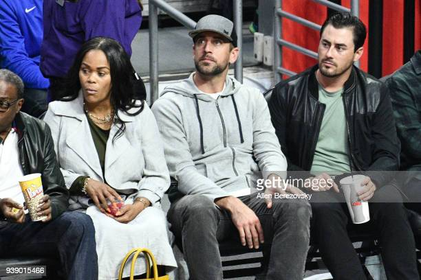 Aaron Rodgers attends a basketball game between the Los Angeles Clippers and the Milwaukee Bucks at Staples Center on March 27 2018 in Los Angeles...
