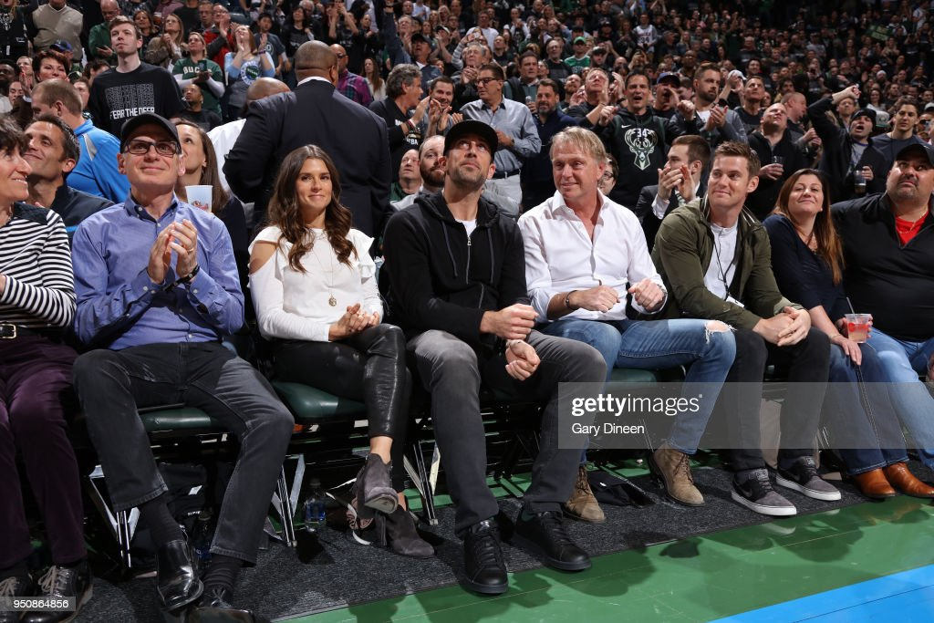 Aaron Rodgers enjoys Game Three of Round One of the 2018 NBA Playoffs between the Boston Celtics and Milwaukee Bucks on April 20, 2018 at the BMO Harris Bradley Center in Milwaukee, Wisconsin.