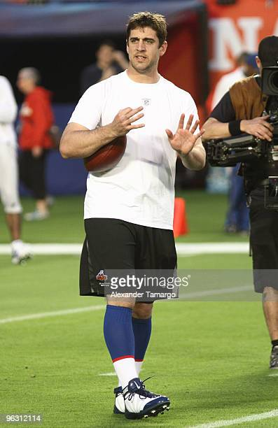 Aaron Rodgers is seen during the 2010 Pro Bowl pregame at the Sun Life Stadium on January 31 2010 in Miami Gardens Florida
