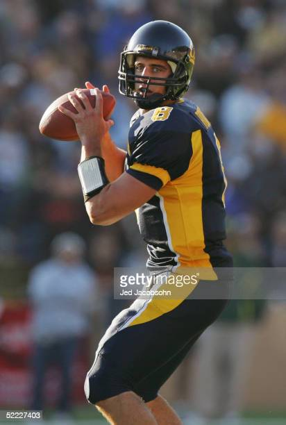 Aaron Rodgers of the California Golden Bears looks to pass during the game against the Oregon Ducks at Memorial Stadium on November 6 2004 in...