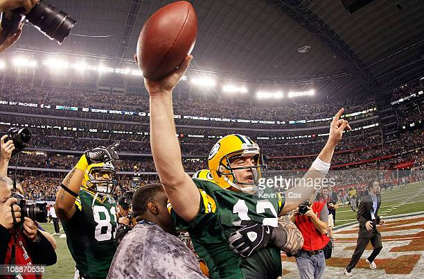 Aaron Rodgers of the Green Bay Packers celebrates after winning Super Bowl XLV against the Pittsburgh Steelers at Cowboys Stadium on February 6 2011...