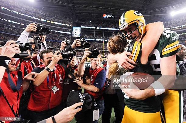 Aaron Rodgers of the Green Bay Packers celebrates with Clay Matthews after defeating the Pittsburgh Steelers in Super Bowl XLV on February 6 2011 at...