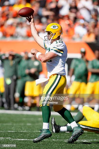 Aaron Rodgers of the Green Bay Packers drops back to pass during the game against the Cincinnati Bengals at Paul Brown Stadium on September 22 2013...