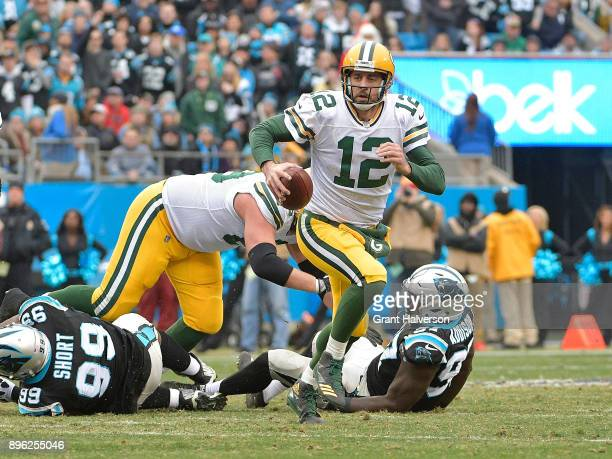 Aaron Rodgers of the Green Bay Packers during their game against the Carolina Panthers at Bank of America Stadium on December 17 2017 in Charlotte...