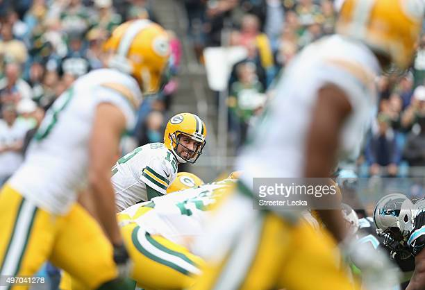 Aaron Rodgers of the Green Bay Packers during their game at Bank of America Stadium on November 8 2015 in Charlotte North Carolina