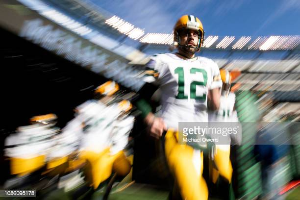 Aaron Rodgers of the Green Bay Packers enters before the game against the New York Jets at MetLife Stadium on December 23 2018 in East Rutherford New...