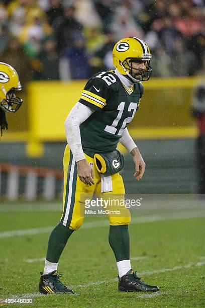 Aaron Rodgers of the Green Bay Packers gets ready for the snap during the game agains the Chicago Bears at Lambeau Field on November 26 2015 in Green...
