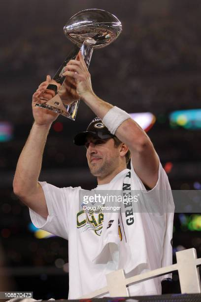 Aaron Rodgers of the Green Bay Packers holds up The Vince Lombardi Trophy after the Green Bay Packers defeated the Pittsburgh Steelers 31 to 25 in...