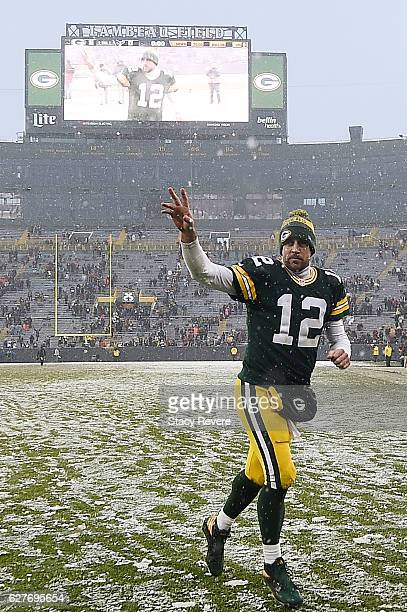 Aaron Rodgers of the Green Bay Packers leaves the field following a game against the Houston Texans at Lambeau Field on December 4 2016 in Green Bay...
