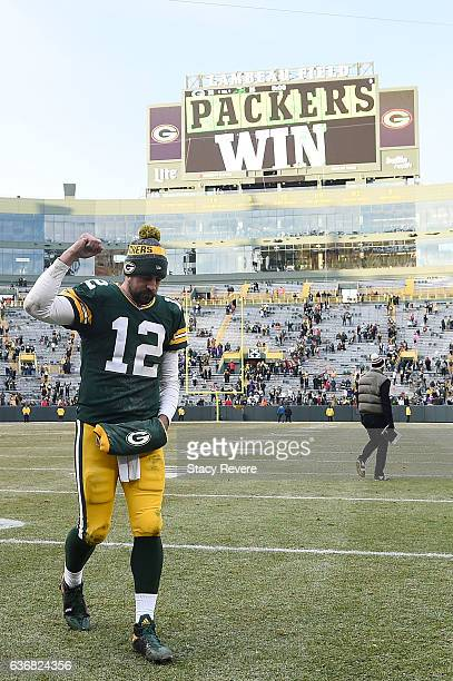 Aaron Rodgers of the Green Bay Packers leaves the field following a game against the Minnesota Vikings at Lambeau Field on December 24 2016 in Green...
