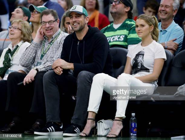 Aaron Rodgers of the Green Bay Packers looks on during Game Five of the Eastern Conference Finals of the 2019 NBA Playoffs between the Toronto...