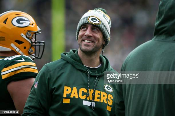 Aaron Rodgers of the Green Bay Packers looks on in the second quarter against the Tampa Bay Buccaneers at Lambeau Field on December 3 2017 in Green...