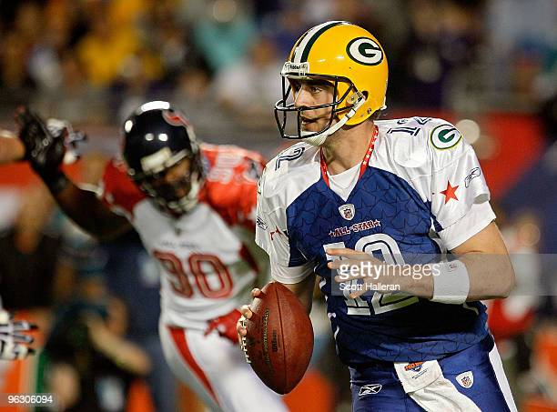 Aaron Rodgers of the Green Bay Packers looks to pass during the 2010 AFCNFC Pro Bowl at Sun Life Stadium on January 31 2010 in Miami Gardens Florida