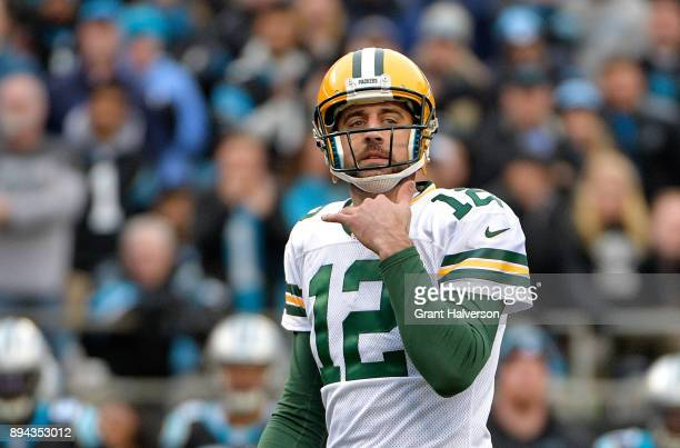 Aaron Rodgers of the Green Bay Packers looks to the sideline against the Carolina Panthers in the fourth quarter during their game at Bank of America...