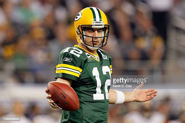 Aaron Rodgers of the Green Bay Packers looks to the sideline during the second half of Super Bowl XLV against the Pittsburgh Steelers at Cowboys...