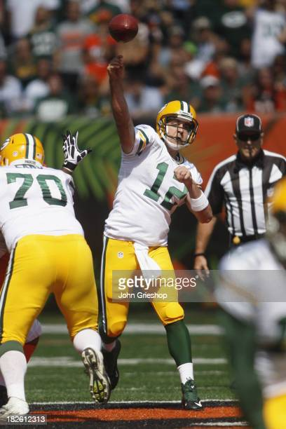 Aaron Rodgers of the Green Bay Packers passes during the game against the Cincinnati Bengals at Paul Brown Stadium on September 22 2013 in Cincinnati...