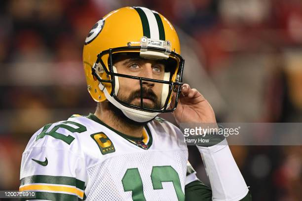 Aaron Rodgers of the Green Bay Packers reacts after a play against the San Francisco 49ers during the NFC Championship game at Levi's Stadium on...