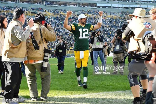 Aaron Rodgers of the Green Bay Packers reacts after the game against the Oakland Raiders at Lambeau Field on October 20 2019 in Green Bay Wisconsin