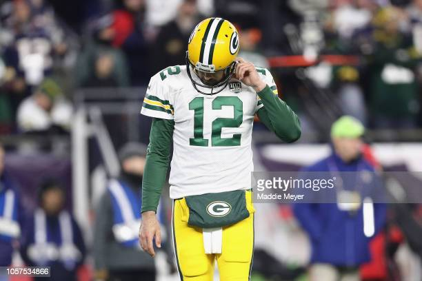 Aaron Rodgers of the Green Bay Packers reacts during the second half against the New England Patriots at Gillette Stadium on November 4 2018 in...