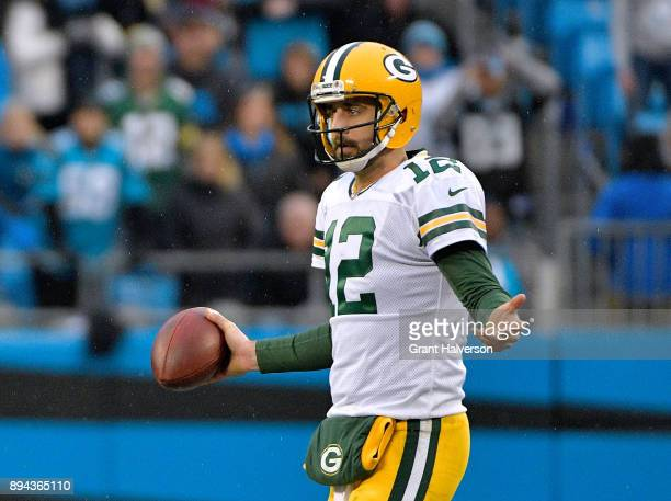 Aaron Rodgers of the Green Bay Packers reacts during their game against the Carolina Panthers at Bank of America Stadium on December 17 2017 in...