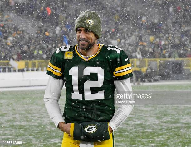 Aaron Rodgers of the Green Bay Packers smiles after the win against the Carolina Panthers at Lambeau Field on November 10 2019 in Green Bay Wisconsin
