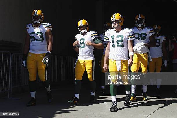 Aaron Rodgers of the Green Bay Packers takes the field before the game against the Cincinnati Bengals at Paul Brown Stadium on September 22 2013 in...