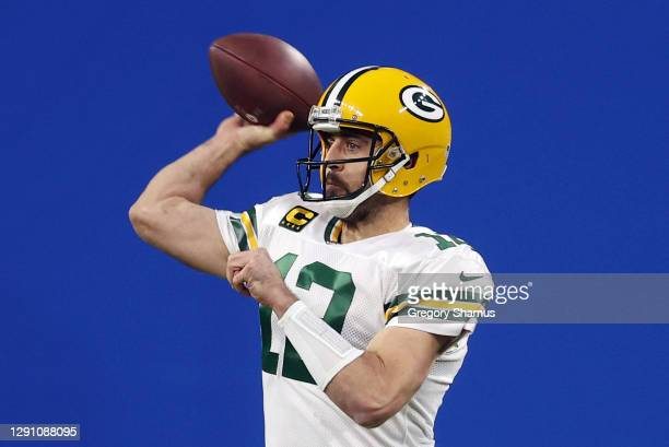 Aaron Rodgers of the Green Bay Packers throws a pass during the first half against the Detroit Lions at Ford Field on December 13, 2020 in Detroit,...