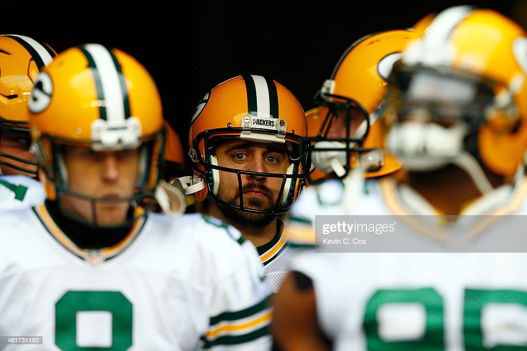 Aaron Rodgers #12 of the Green Bay Packers waits to run out to the field before taking on the Seattle Seahawks in the 2015 NFC Championship game at CenturyLink Field on January 18, 2015 in Seattle, Washington.