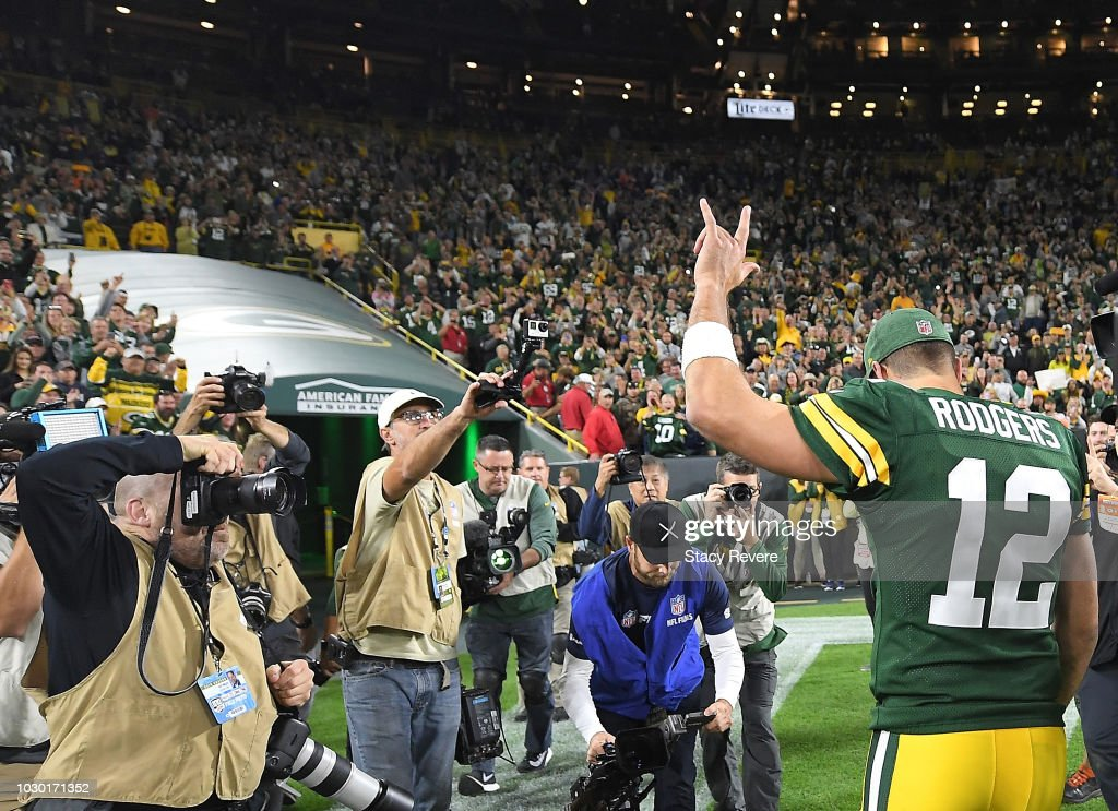 Aaron Rodgers #12 of the Green Bay Packers walks off the field after a game against the Chicago Bears at Lambeau Field on September 9, 2018 in Green Bay, Wisconsin. The Packers defeated the Bears 24-23.