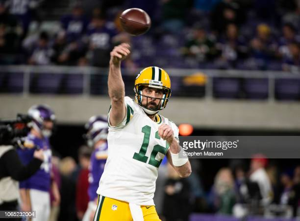 Aaron Rodgers of the Green Bay Packers warms up before the game against the Minnesota Vikings at US Bank Stadium on November 25 2018 in Minneapolis...
