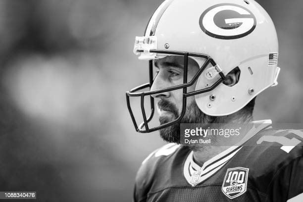 Aaron Rodgers of the Green Bay Packers warms up before the game against the Detroit Lions at Lambeau Field on December 30 2018 in Green Bay Wisconsin