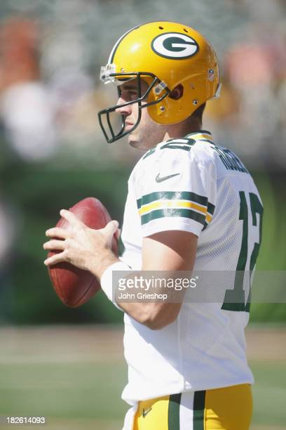 Aaron Rodgers of the Green Bay Packers warms up before the game against the Cincinnati Bengals at Paul Brown Stadium on September 22 2013 in...