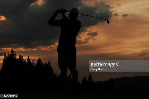 Aaron Rodgers plays his shot during Capital One's The Match at The Reserve at Moonlight Basin on July 06, 2021 in Big Sky, Montana.