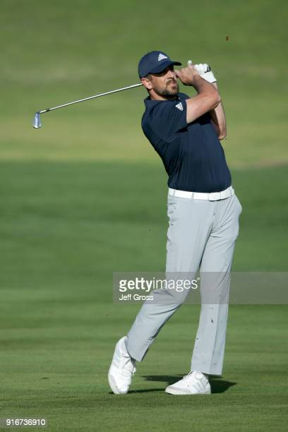 Aaron Rodgers plays his shot on the second hole during Round Three of the ATT Pebble Beach ProAm at Pebble Beach Golf Links on February 10 2018 in...