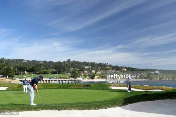 Aaron Rodgers putts on the 18th green during Round Three of the ATT Pebble Beach ProAm at Pebble Beach Golf Links on February 10 2018 in Pebble Beach...