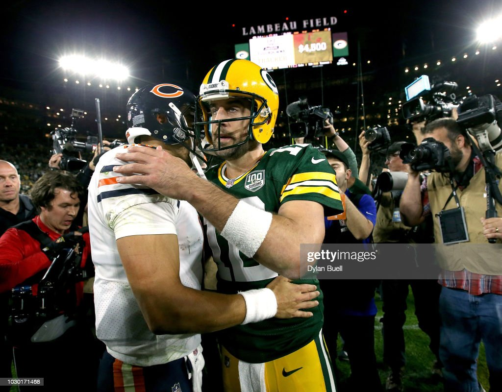 Aaron Rodgers #12 shakes hands with Mitchell Trubisky #10 after a game at Lambeau Field on September 9, 2018 in Green Bay, Wisconsin. The Packers defeated the Bears 24-23.