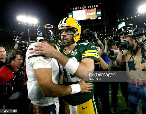 Aaron Rodgers shakes hands with Mitchell Trubisky after a game at Lambeau Field on September 9, 2018 in Green Bay, Wisconsin. The Packers defeated...